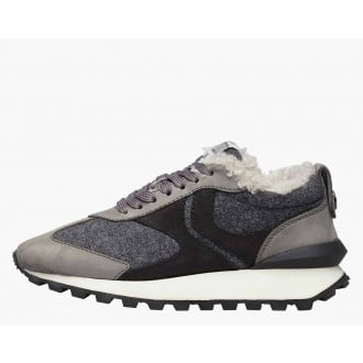 QWARK FUR WOMAN - Shearling-lined Nubuck leather and felt sneakers - Grey
