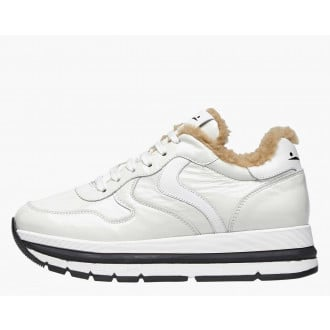 MARAN FUR - Shearling-lined patent leather sneakers - White