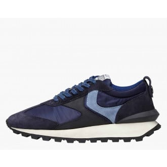 QWARK MAN - Technical fabric and suede sneakers - Navy