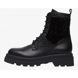 CLEOFE - Faux shearling insert-embellished combat boots - Black