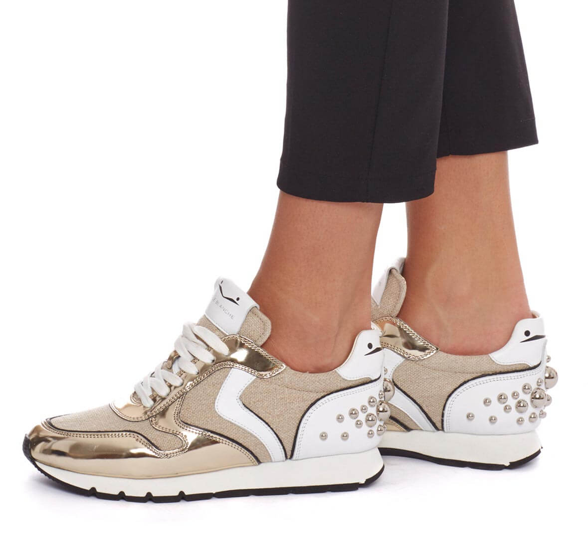 JULIA HEEL BUBBLE - LEATHERT AND FABRIC SNEAKERS - PLATINUM - Voile Blanche