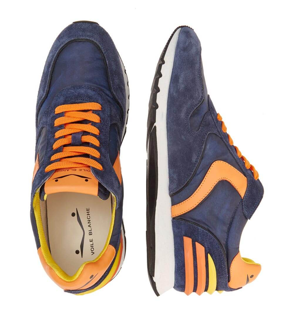 LIAM POWER - LEATHER AND NYLON SNEAKERS - BLUE/ORANGE - Voile Blanche